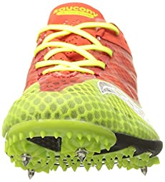 Saucony Men\'s Endorphin Track Spike Racing Shoe, Red/Black/Citron, 10.5 M US