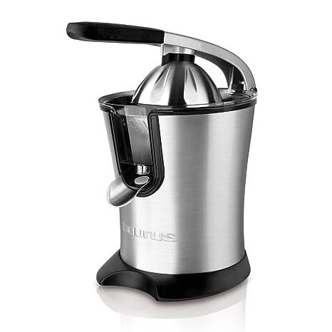 Taurus Citrus 160 Legend - Exprimidor eléctrico para zumos de 160 W de potencia, sistema anti goteo, acero inoxidable, color gris y negro