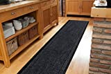 The Rug House Grey Black Skid Resistant Durable Entry Mats For Kitchen And Hallway - Sold And Priced Per Foot - 2' 2' Wide