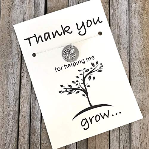 Thank you for helping me grow, Teacher appreciation gift, Mentor gift, Nanny gift, Teacher gift, Nurse appreciation gift, babysitter gift, Teacher necklace ()
