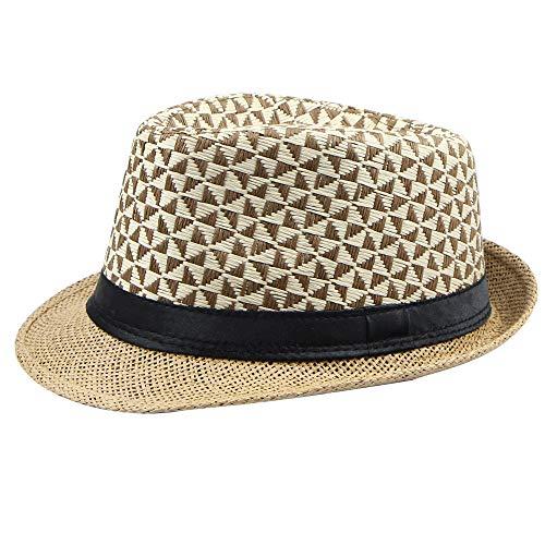 (YQZB Men Sun Hat Wide Brim Straw Plaid Curled Fisherman Hats Spring Summer Fedora Jazz Holiday Cap Khaki)