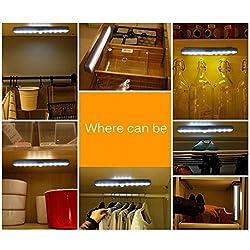 LtrottedJ 10 LED Bright PIR Motion Sensor Light ,Cabinet Wardrobe Drawer Lamp Bulb