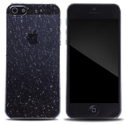 Zooky® schwarz Regentropfen Plastik Hülle / Schutzhülle / Cover für Apple Iphone 5 / 5S