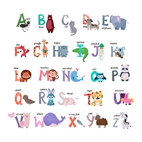 - Sunm boutique Animal Alphabet Wall Decals, Alphabet Wall Stickers with Colourful ABC Letters, Educational Alphabet Wall Stickers Removable as Gift for Kids Nursery Bedroom Living Room