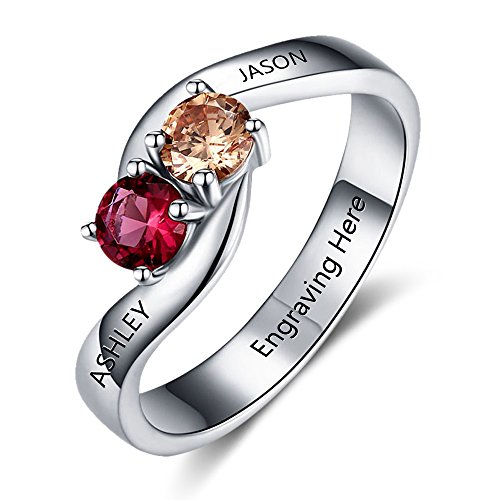 Love Jewelry Personalized Engagement Promise Ring Engraved 2 Names Couples Ring with 2 Simulated Birthstones - Forever Together Rings