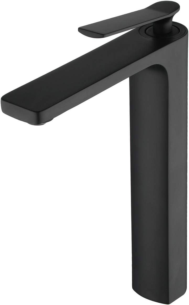 Beelee BL6790B Matte Black Deck Mounted One Hole Commercial Bathroom Sink Faucet Single Handle Basin Mixer Faucet
