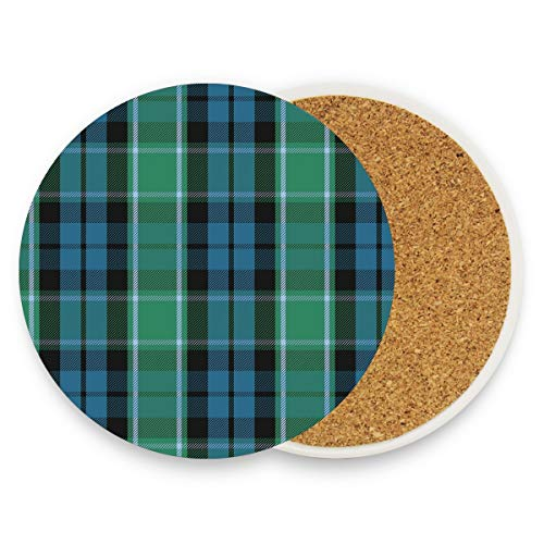 Drink Coasters, Ceramic Stone Coasters with Cork Base, Protect Furniture from Dirty and Scratched, Stone Coasters Mats Suitable for Kinds of Mugs and Cups - 1 Pack Graham Of Menteith Tartan.