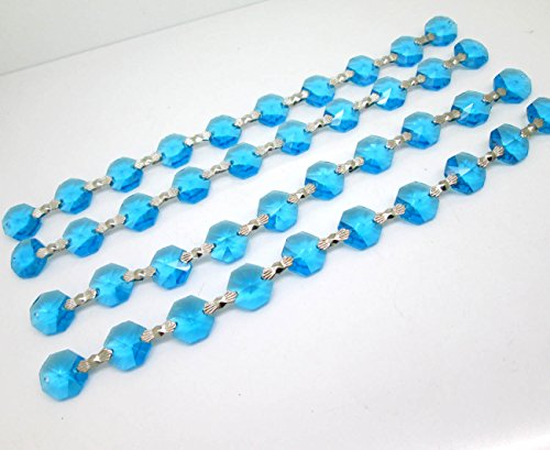 Hierkryst Crystal Garland Wedding Strand with Bow Clips Pack of 1 Yard (Turquoise Blue)
