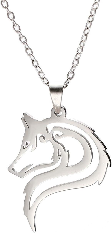 VASSAGO Collar con Colgante de Cabeza de Lobo de Acero Inoxidable con diseño Hueco, Collar de Cadena de Plata para Hombres, Mujeres, Adolescentes