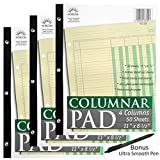 Norcom Columnar Pad, 4 Columns, Made in The USA, 11 x 8.5 Inches, 50 Sheets (76704) Pack of 3 Plus 1 Ultra Smooth Pen by JustWritin'