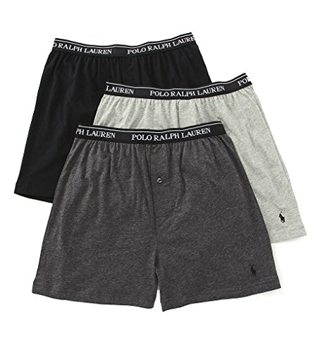 Polo Ralph Lauren Classic Cotton Knit Boxer 3-Pack, M, Assorted Grey