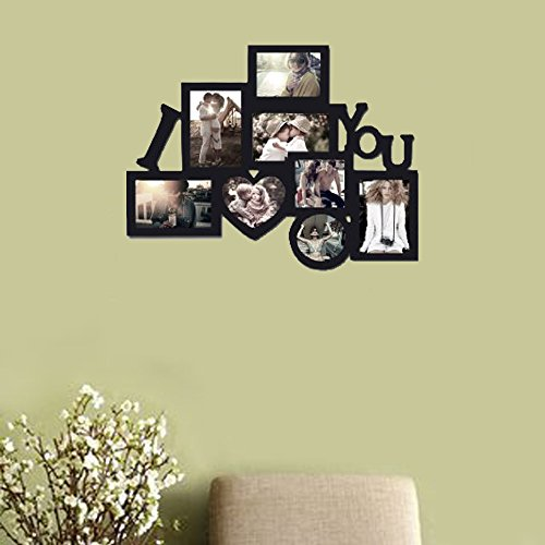Decor Hut I Love You Picture frame Puzzle Collage Frame, Holds 8 Photos, Easy to Hang, Black Nice Finish! Memory Keepsake! by Decor Hut (Image #1)