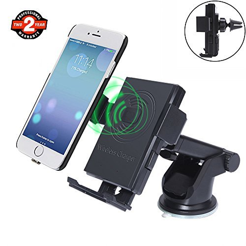 Fit Specific Truck Types (Wireless Car Charger Phone Mount for iPhone x 8 plus, LTS Future, Qi Standard 2-in-1 Wireless Charger Vehicle Dock, Car Charger Phone Holder for Samsung Note5 S6 S7 S8, iPhone with Charging Receiver)