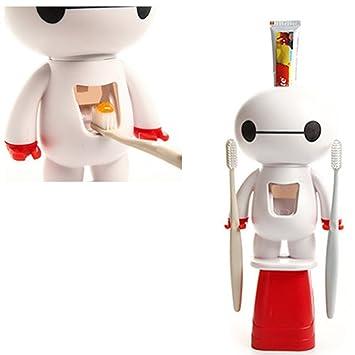 Cartoon 3 en 1 Baymax pasta de dientes dispensador y cepillo de dientes Holder Set automática dentífrico Squeezer: Amazon.es: Hogar