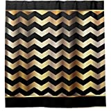 Elegant Black and Gold Chevron Stripes, Mildew Proof and Waterproof Washable Printed Polyester Fabric Shower Curtain for Bathroom,and Hooks