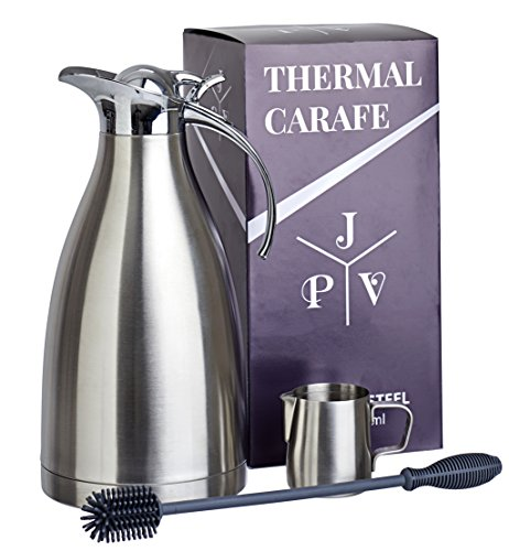 Stainless Steel Coffee Carafe by JPVictoria 68 oz Insulated Thermal Thermos with Bottle Brush and 5 oz Milk Pitcher (3 Piece Set) (Cup Oz Each French Press compare prices)