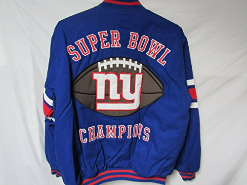 G-III Sports New York Giants Mens Large Full Zip Embroidered 3 Time Super Bowl Champions Reversible Jacket B1 32 L