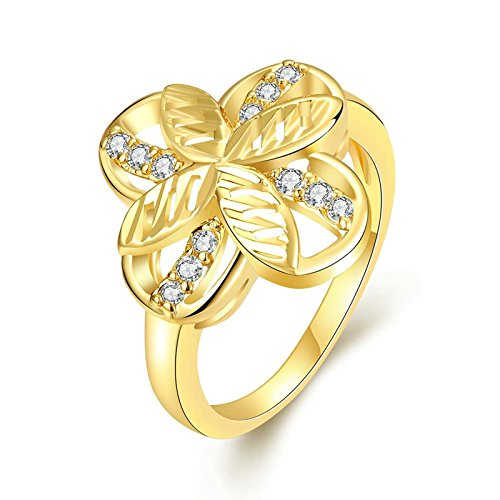 Cross James Engagement - Gnzoe Fashion Jewelry 4 Petals Cross Crystal Gold Women Jewelry Engagement Rings Size 8
