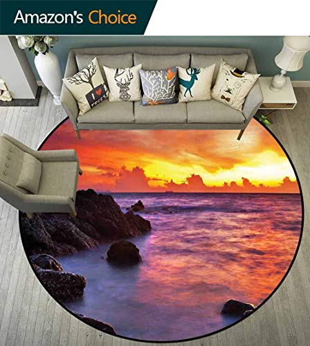 Coastal Decor Round Rug for Girls Room,Tropical Beach Sunset Golden Clouds Stones Calm Sea Summer Seaside Scene Carpet for Children Home Decorate,D-55