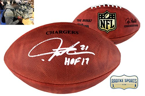 LaDainian Tomlinson Autographed/Signed San Diego Chargers NFL Authentic Wilson Football - With HOF17 Inscription - Ladainian Tomlinson Signed Authentic Football