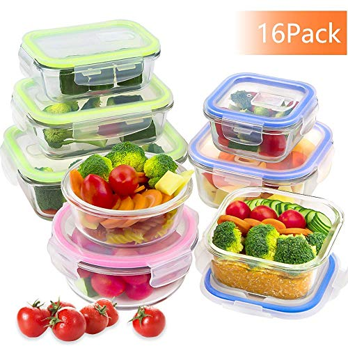 BAKHUK Glass Meal Prep Containers(16 Piece), Airtight Glass Food Storage with Lids, FDA Approved & Leak Proof