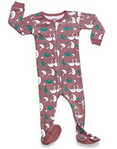 Leveret Kids Organic Cotton Swan Baby Boys Girls Footed Pajamas Sleeper (Size 6-12 Months)