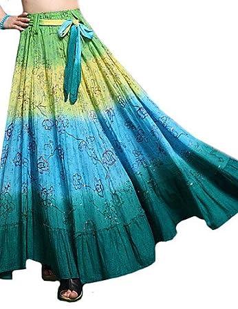 ZH 100% algodón Casual Roman purpurina neón larga falda de las ...