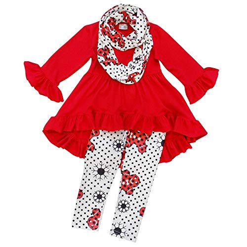 Christmas Winter Outfit - So Sydney Toddler Girls 3 Pc Hi Lo Christmas Holiday Ruffle Tunic Outfit, Scarf (M (4T), Gingerbread Red)