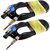 2X speakon compatible to 1/4 male 50ft foot PA DJ pro audio sound speaker cables