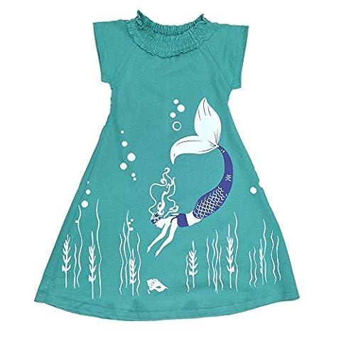 Wee Urban Girls Fashion, Organic Cotton, Short Sleeve, Aqua Mermaid, Sundress, Party Dress, Size 5/6