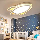 LITFAD Simple Cartoon Rocket Dimmable LED Ceiling Light for Kids Bedroom Creative Deco Ceiling Lamp for Children's Room