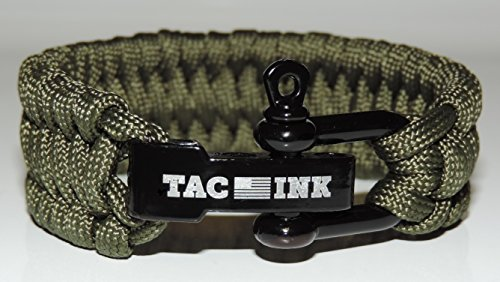 (TAC INK Paracord Survival Bracelet with Black D Shackle, adjustable for wrist sizes 6