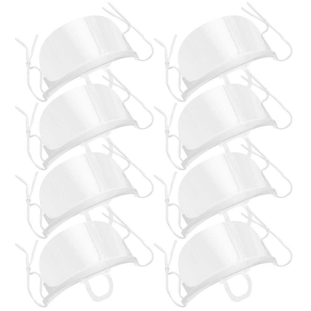 PRETYZOOM 20PCS Transparent Reusable Safety Open Face Guard Adjustable Mouth Mask Anti-fog Mask Dental Plastic Mask Unisex 2 Boxes