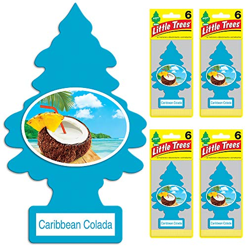 (Little Trees auto air freshener, Caribbean Colada, 6-Packs (4)
