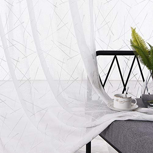 Crinkle Voile Curtain - Embroidery White Sheer Faux Linen Curtains 84 Inches Long, Geometric Rod Pocket Sheer Drapes for Living room, Bedroom, 2 Panels, 52