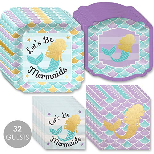 Let's Be Mermaids with Gold Foil - Baby Shower or Birthday Party Tableware Plates and Napkins - Bundle for ()