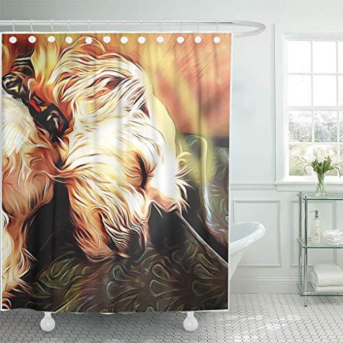 Semtomn Shower Curtain Baggu Sleeping Cherub Gu Morkie Dog Angel Sleep Cute 66