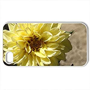 Yellow Dahlia - Case Cover for iPhone 4 and 4s (Flowers Series, Watercolor style, White)