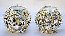 Silver Plating Candlesticks/candle Holder Israel Jerusalem Panorama Shabbat. Tea Light Candle