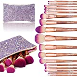 Makeup Brush Set, Diolan 17PCs Professional Makeup Brushes for Foundation Blending Blush Concealer Eye Shadow, Synthetic Fiber Bristles & Wooden Handle, Travel Makeup Bag Included, Glitter Purple