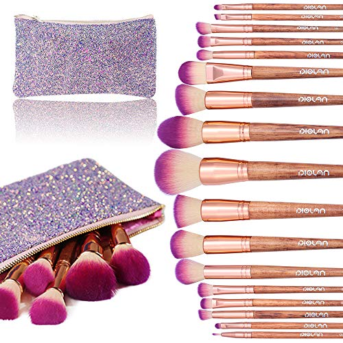 - Makeup Brush Set, Diolan 17PCs Professional Makeup Brushes for Foundation Blending Blush Concealer Eye Shadow, Synthetic Fiber Bristles & Wooden Handle, Travel Makeup Bag Included, Glitter Purple