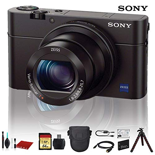 Sony Cyber-Shot DSC-RX100 III Digital Camera (DSCRX100M3/B) with Bag, Tripod, Extra Battery, 64GB Memory Card, Memory Card Reader and More.