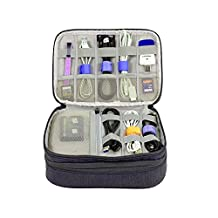 Travel Electronic Accessories Organizer Universal Cable Bags Gadget Organizer Case Travel Organizer for iPad, iPod, Chargers, Adapters, Power Cord and more - Small