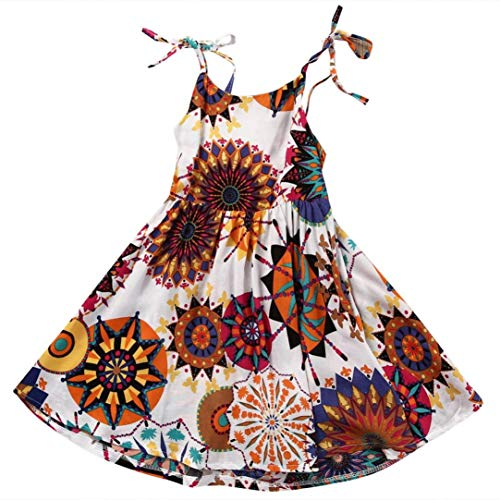 ModnToga Kids Baby Girls Sleeveless Bohemian Flower Princess Dress Halter Dress Summer Clothes (White #1, 5T(120))