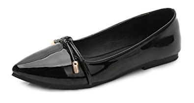Easemax Damen Einfarbig Spitz Zehen Low Cut Slip On Business Ballerinas Schwarz 40 EU CrJm4