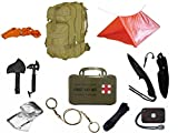 Ultimate Arms Gear Level 3 Assault MOLLE Tan Backpack Kit; Signal Mirror, Polarshield Blanket, Knife Fire Starter, Wire Saw, Axe, 50' Foot Paracord, Camping Tube Tent, Whistle & First Aid Kit