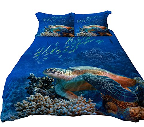 Tropical Turtle - Microfiber Reversible Bedding Sets, Printed Sea Turtle Bedding Sets, Reverse Dolphin Bedding, Twin Bedding for Boys or Girls, 3 Pieces (twin)