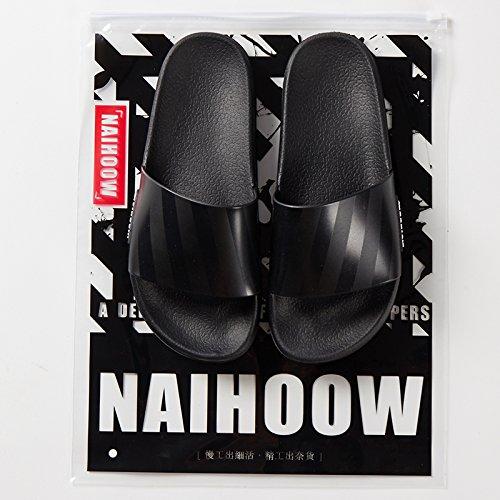 fankou Zapatillas Mujer Verano Cubierta Blanda Antideslizante, Grueso Baños casa Estancia con un par de Zapatillas de Baño Fresco Macho,38, Negro