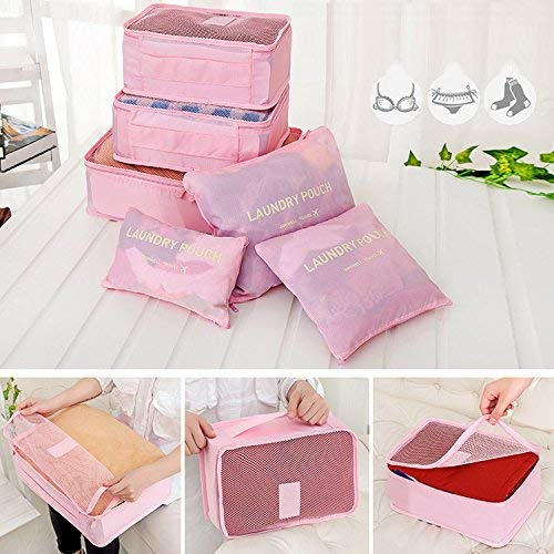 GaxQuly 6-Piece Packing Cubes Set with Laundry Bag Multifuctional