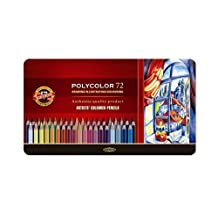 Koh-I-Noor Polycolor Drawing Pencil Set, 72 Assorted Colors in Tin, 1 Each (FA3827)